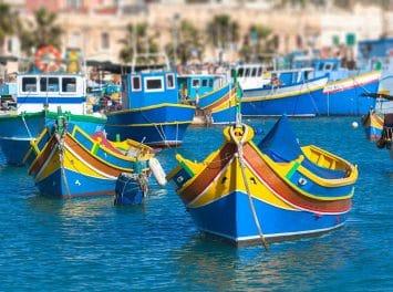 Farbige Fischerboote, Malta